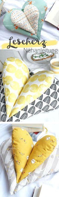 DIY Leseherz Kissen #knittingdesigns