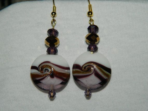 Handmade Purple, White and Gold Glass and Crystal Earrings. $4.00, via Etsy.