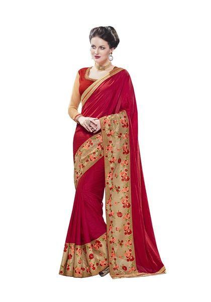 e3eb64fa4b #Buy now #crepesarees #Partywear Plain Crepe Sarees Broad Floral Embroidery  Border Work Sarees