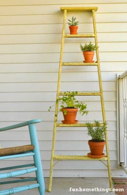 DIY Ladder Plant Stand - Fun Home Things