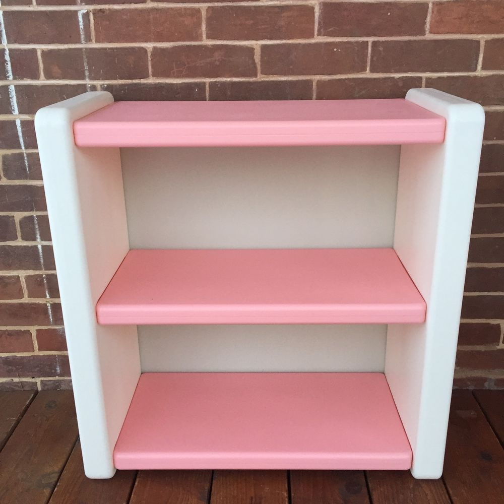 Vintage Little Tikes Pink White Bookshelf Book Shelf Furniture Toy Storage EUC