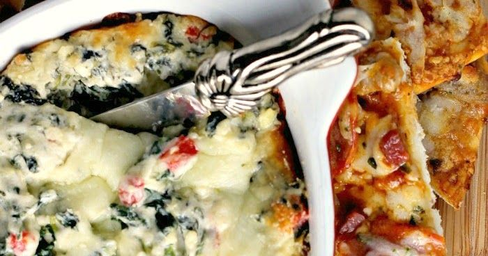 Hot and Cheesy Spinach Artichoke Dip with Pizza Dippers California