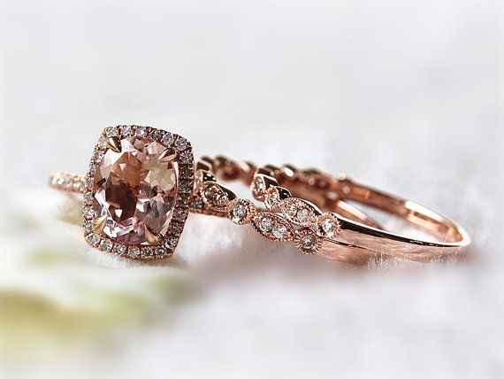 Three Ring Set 7X9MM Oval Morganite Wedding Ring and Diamond Half Eternity Ring Anniversary Ring Promise Ring 14K Rose Gold Ring Set