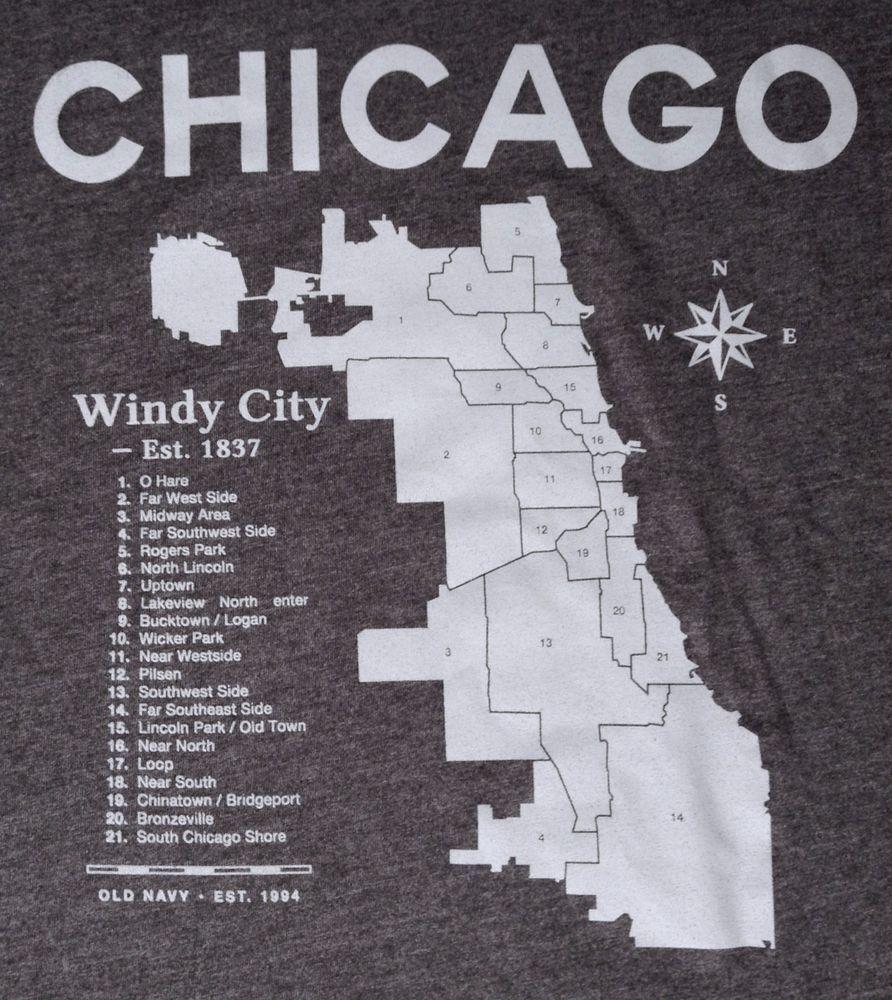 Black t shirt old navy - New Chicago Neighborhood Map T Shirt Charcoal Dark Gray Windy City Men 2xl Xxl