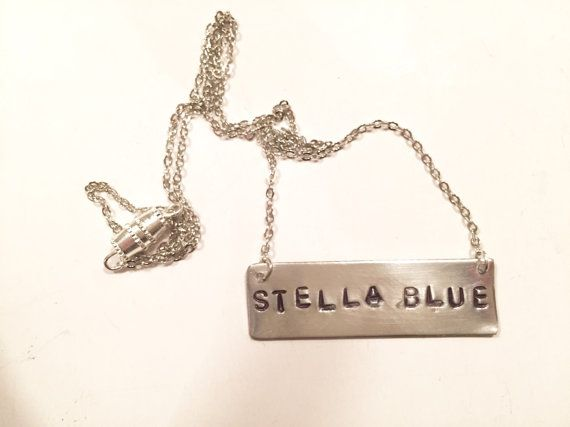 "Stamped Metal Silver Bar Necklace: Grateful Dead Song - ""Stella Blue""  Available now on GypsiesEnRegalia etsy!"