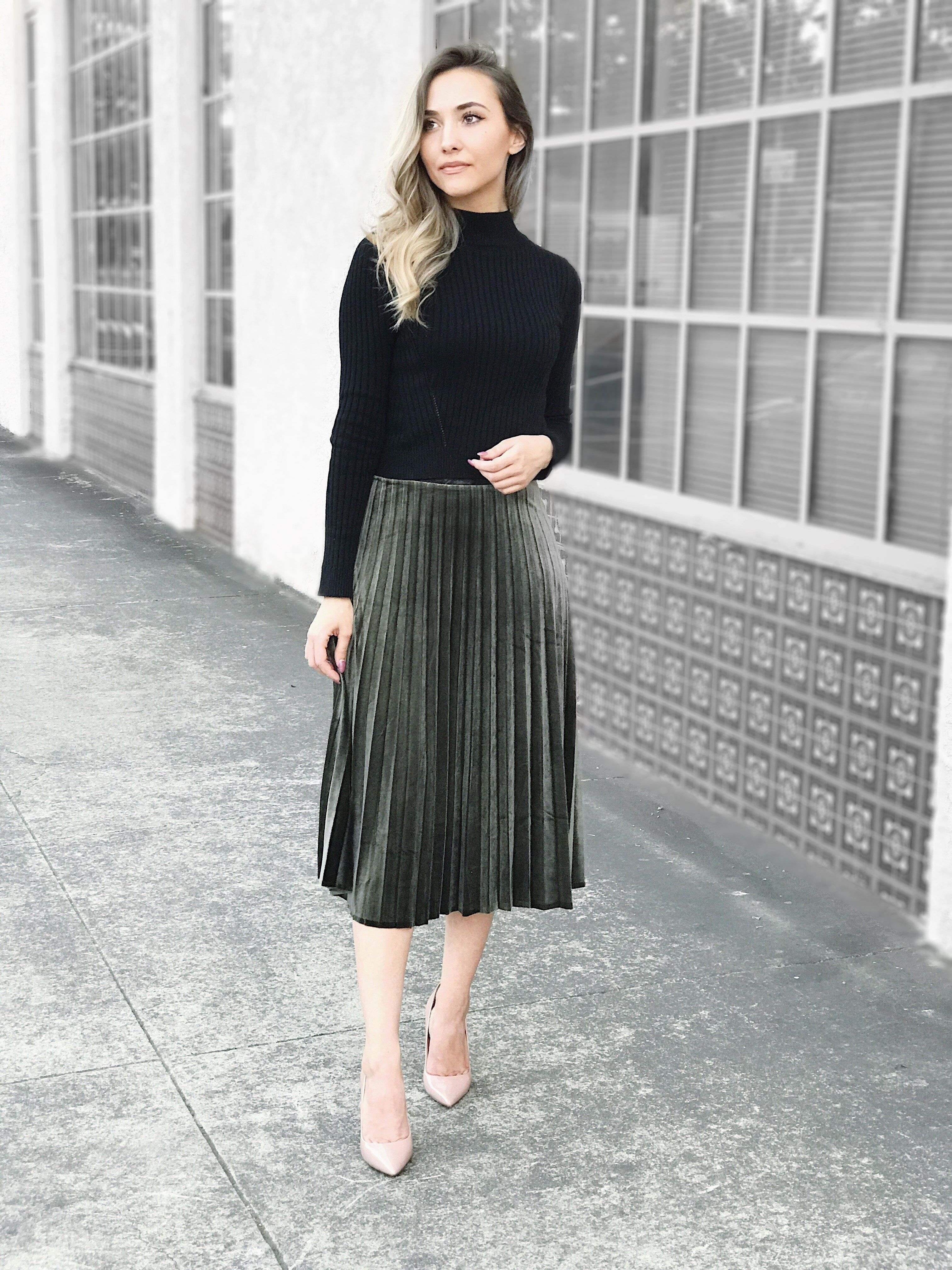 the olivia velvet pleated skirt is perfect for fall with
