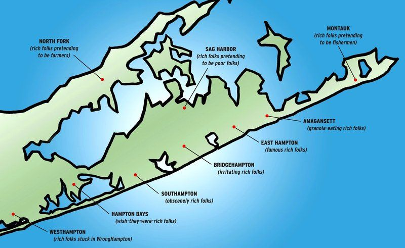 The hamptons map hilarious blog entry by tracy g for Hamptons long island