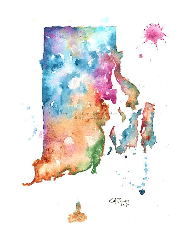 Pin by karen hollyman on rhode island state of mine pinterest rhode island map print of watercolor map gumiabroncs Images