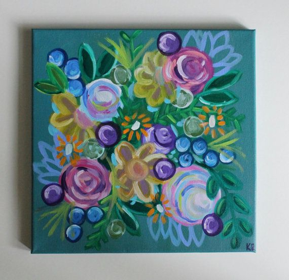 Home Decorative Item Painting Handmade Group Of Colorful Abstract Flowers Floral Art Home Decor .