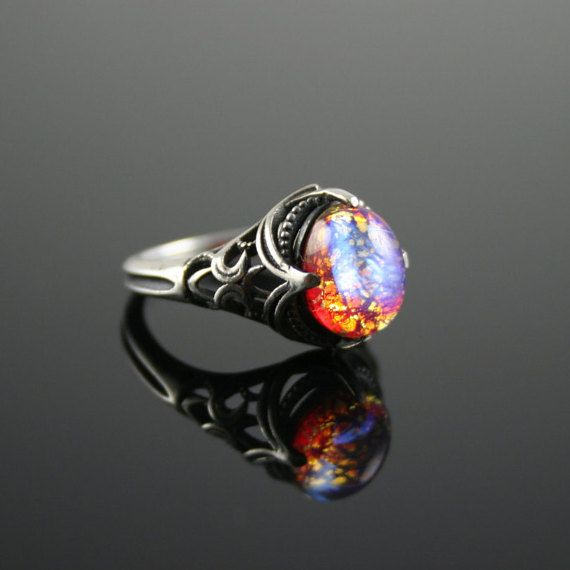 Dragon S Breath Opal Antique Estate Style Cabochon Ring