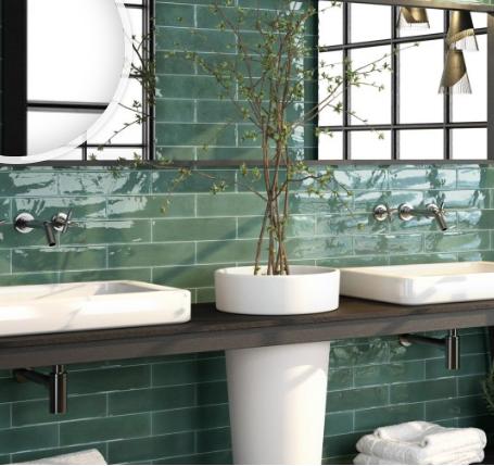 Continental Tiles Opal Emerald Wall Floor Tiles 75x300mm Wall Tiles Octagon Tile Green Tile