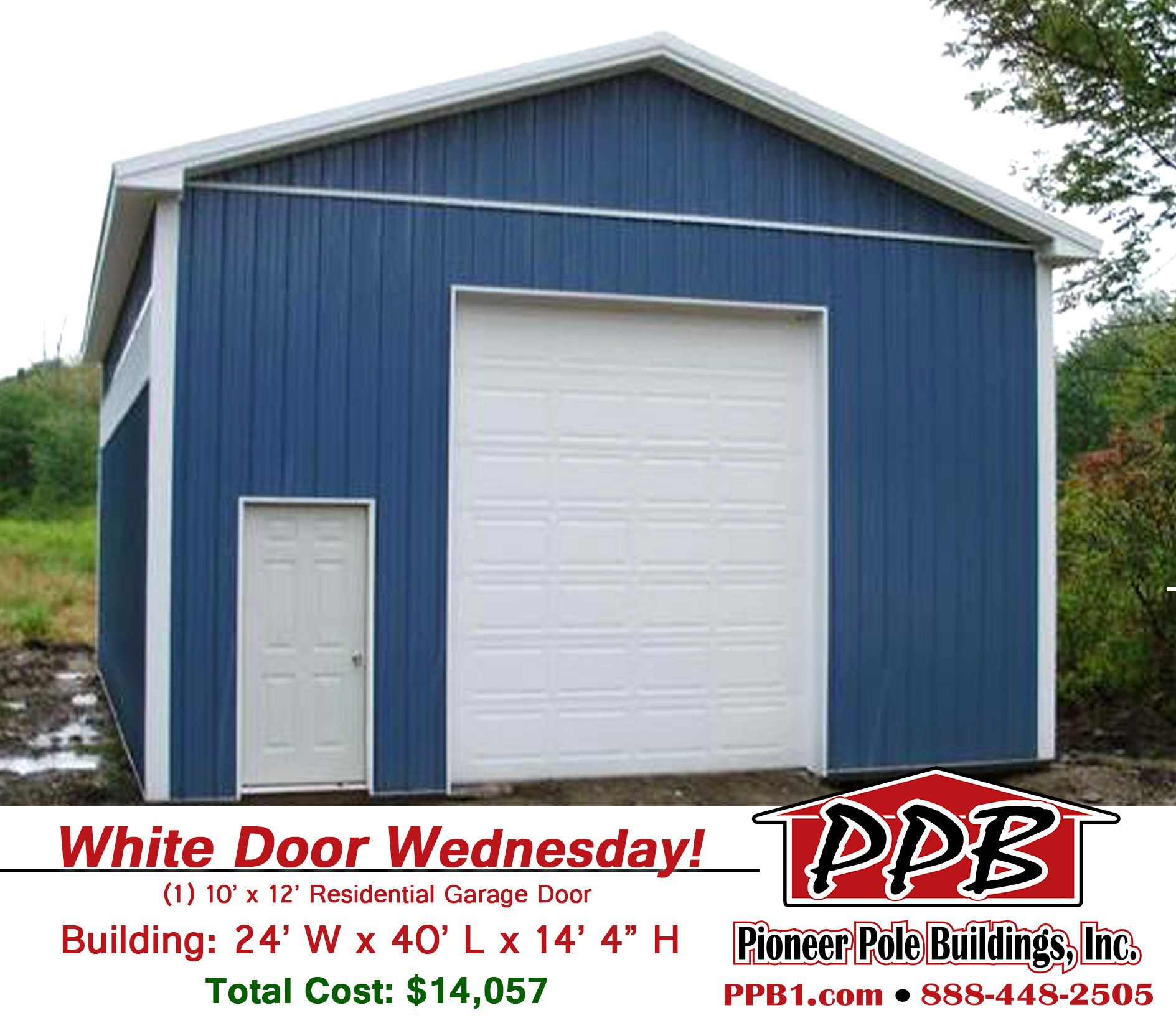 White Door Wednesday Dimensions 24 W X 40 L X 14 4 H Id 232 24 Standard Trusses 4 On Center Residential Garage Doors Garage Doors Garage Design