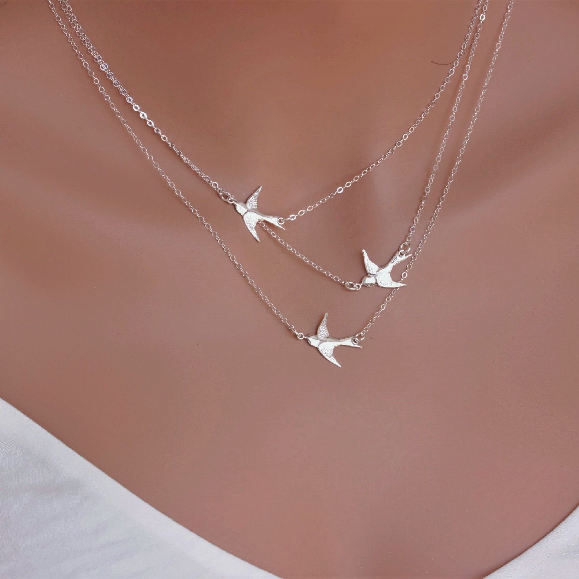 Flying Birds Necklace in Sterling Silver 14k Gold fill ...