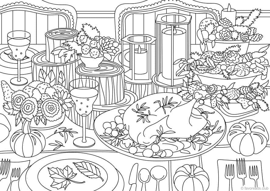 Thanksgiving Table Coloring Pages Printable Adult Coloring