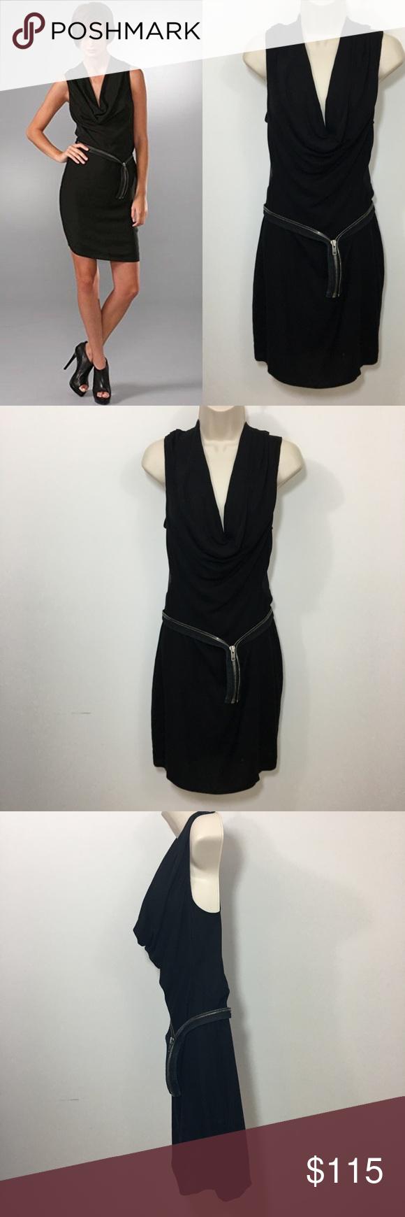 Helmut lang zipper dress cowl