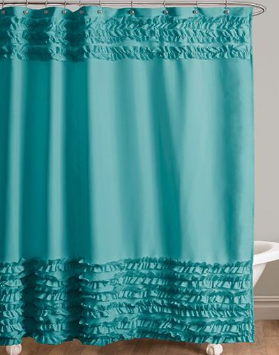 Skye Turquoise Fabric Shower Curtain Features Brushed And Handcrafted Ruffles 12499 Sale 7499 Buy At Kohls
