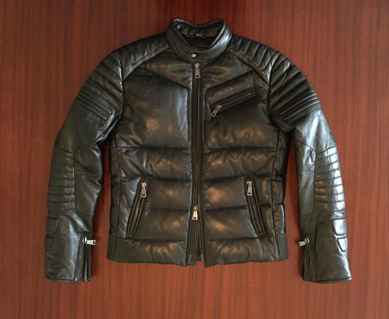 New Ralph Lauren Rl Black Quilted Cafa Racer Leather Jacket Feather Down Menas M Ralph Lauren Purple Label Men Jackets Mens Outfits [ 1312 x 1600 Pixel ]