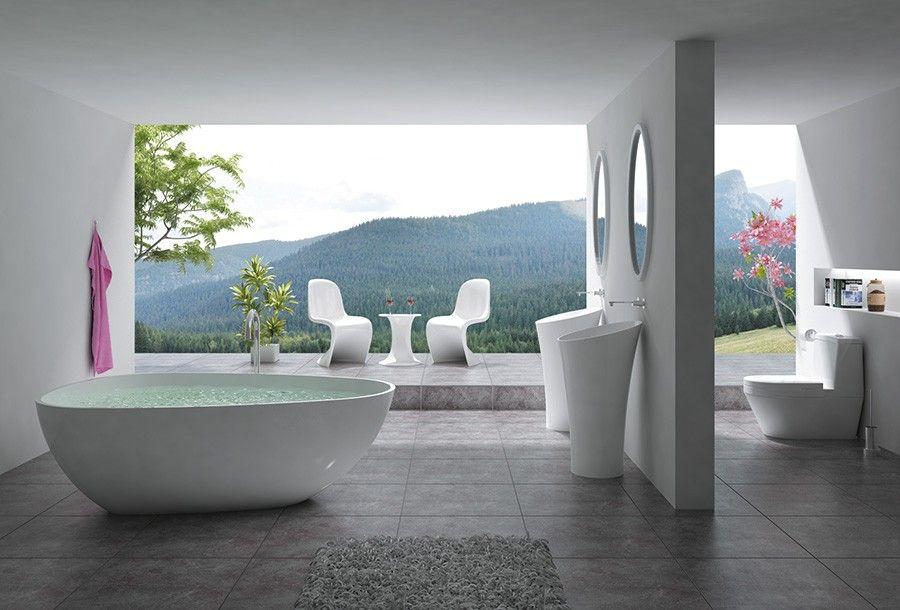 freistehende Badewanne TITANIC 180 x 120 x 60 cm aus Mineralguss - badezimmer 60 cm