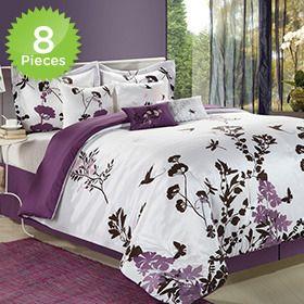 8 Piece Set: Purple U0026 White Butterflies Garden Bedding   King Or Queen