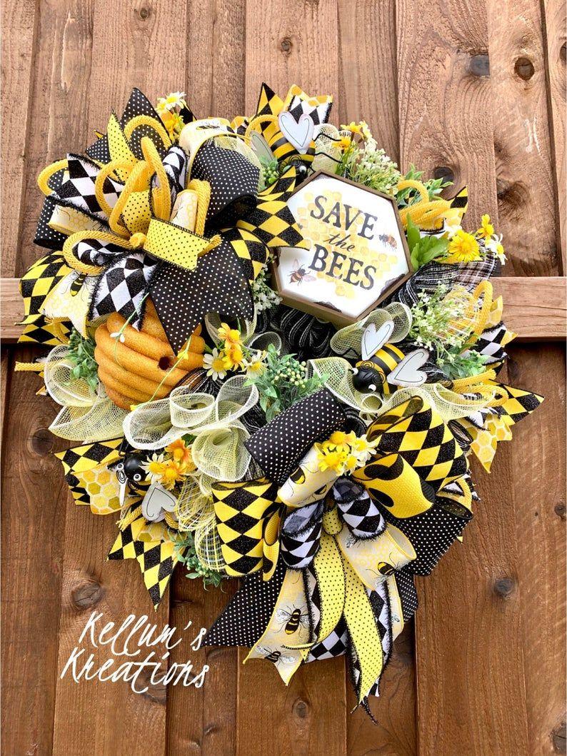 Photo of Bee Wreath, Save the Bees, Bumble Bee Wreath, Bee Decor, Everyday Wreath, Summer Wreath, Spring Wrea