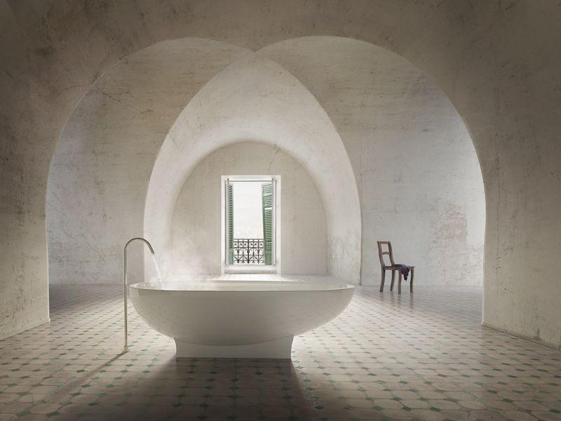 GroBartig Badewanne Luxus Gewoelbe Mediterran Stil Bad Fliesen Fussboden