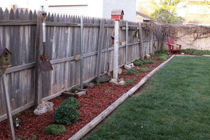 Backyard Flowerbeds Landscape Timbers Easy Landscaping