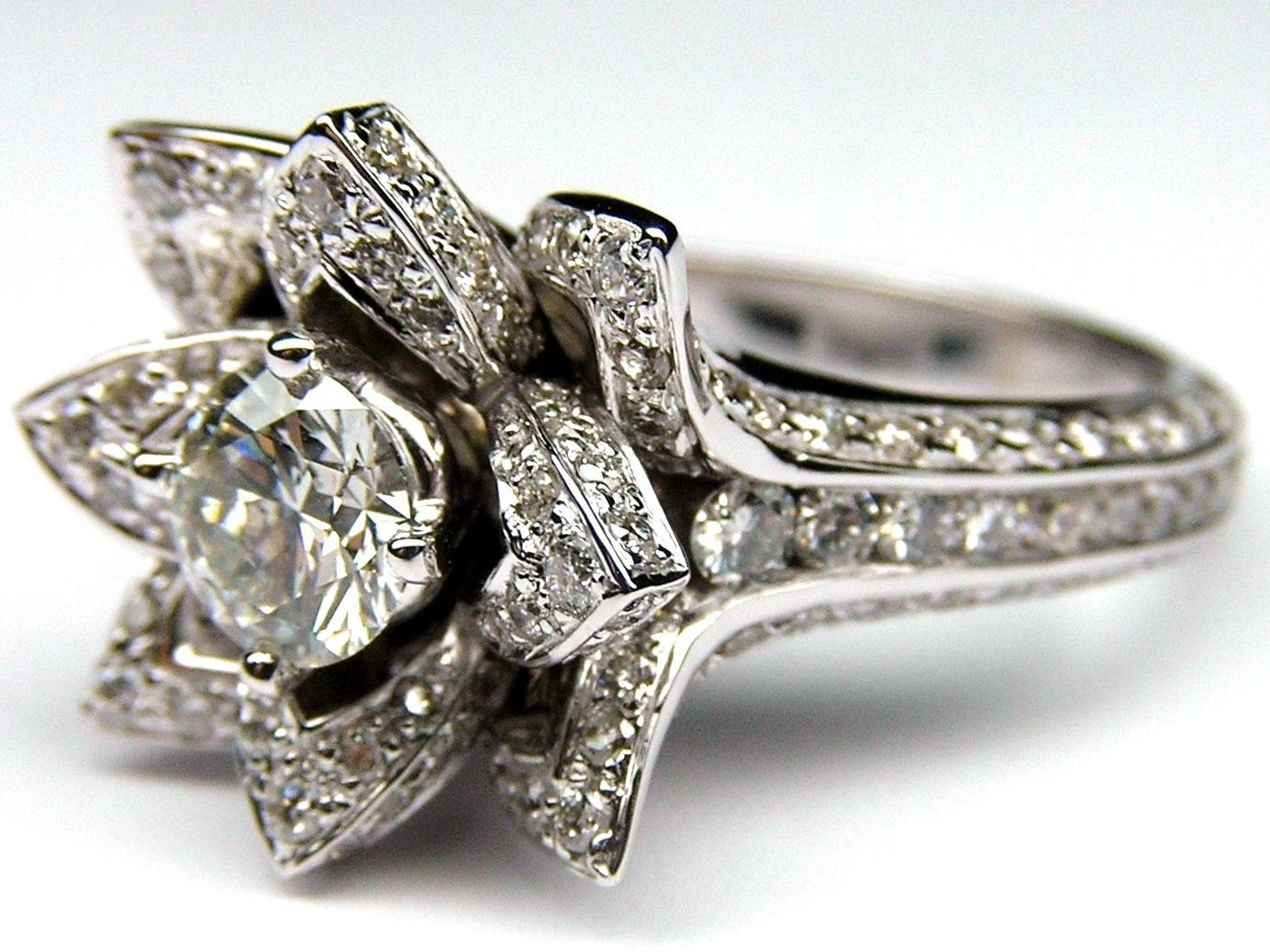 lotus diamond engagement ring es997br - Lotus Wedding Ring
