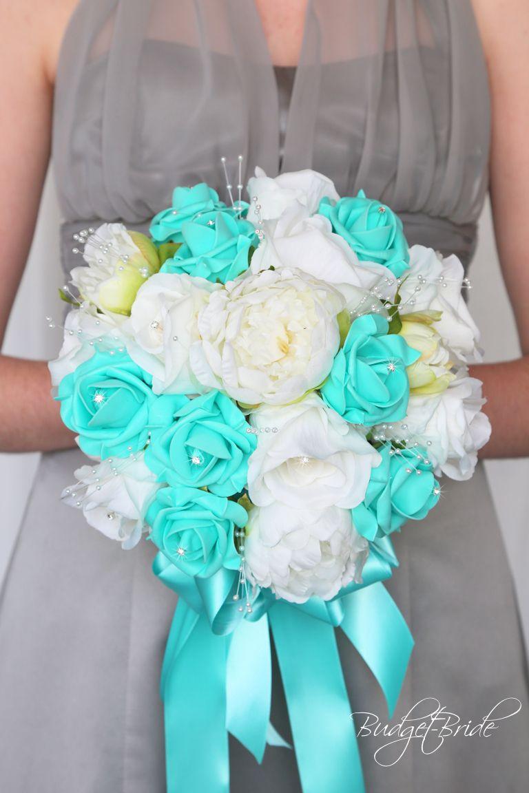 White And Spa Teal Wedding Flower Brides Bouquet Tiffany Blue Mint Green Bridal Wedding Flowers Teal Wedding Flowers Flower Bouquet Wedding