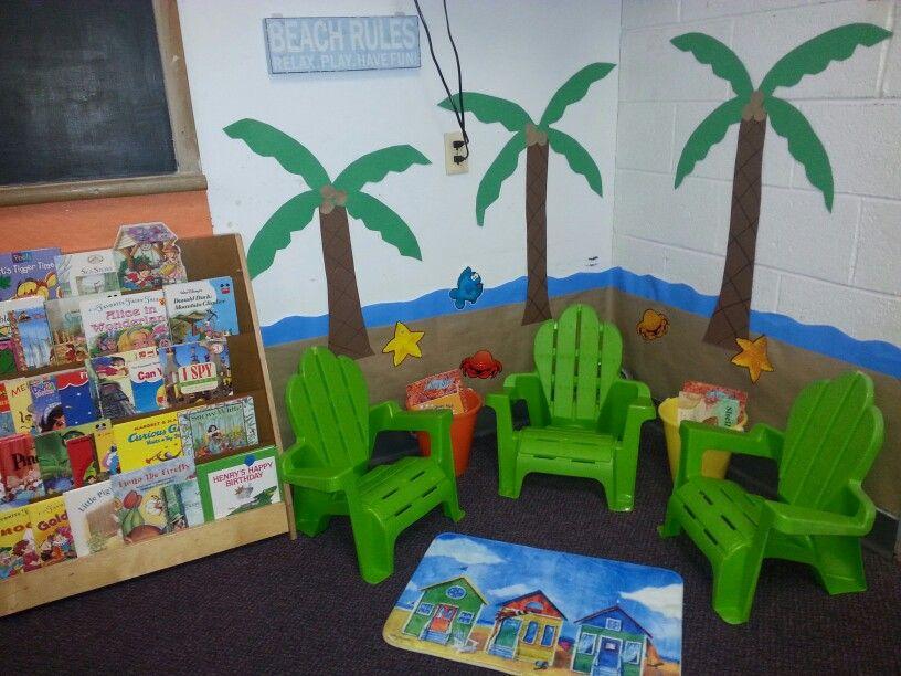 Beach Themed Reading Corner In My Pre K Class Reading Corner