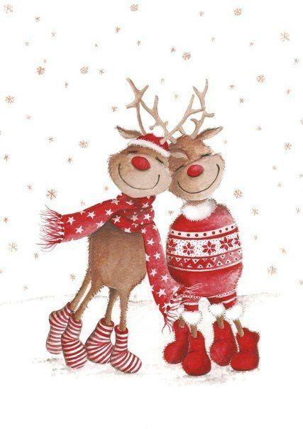 Новый год новогодние олени новогодний рисунок новогодняя ...