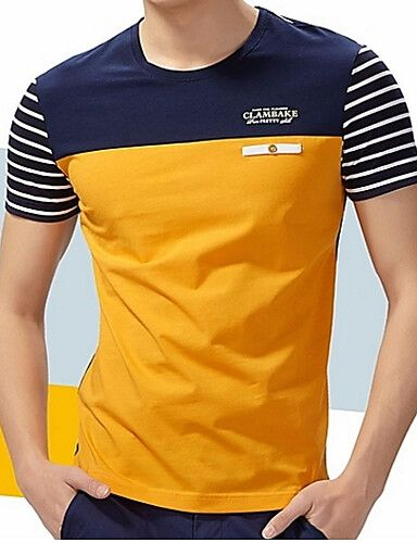 Men's Going out Weekend Plus Size Cotton T shirt Striped