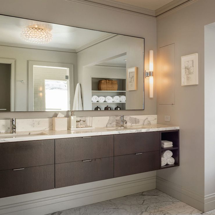 Stunning Bathroom With White And Gray Marble Floors Below A Wall Length Floating Vanity With Floating Bathroom Vanities Floating Vanity Small Bathroom Vanities