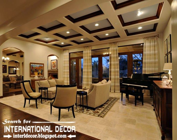 Coffered Ceiling Design For Luxury Living Room Interior Coffered Magnificent Wood Design Living Room Design Decoration