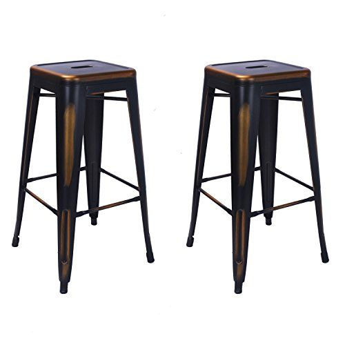 Amazing Adeco 30Inch Metal Counter Stools Black And Gold Vintage Spiritservingveterans Wood Chair Design Ideas Spiritservingveteransorg