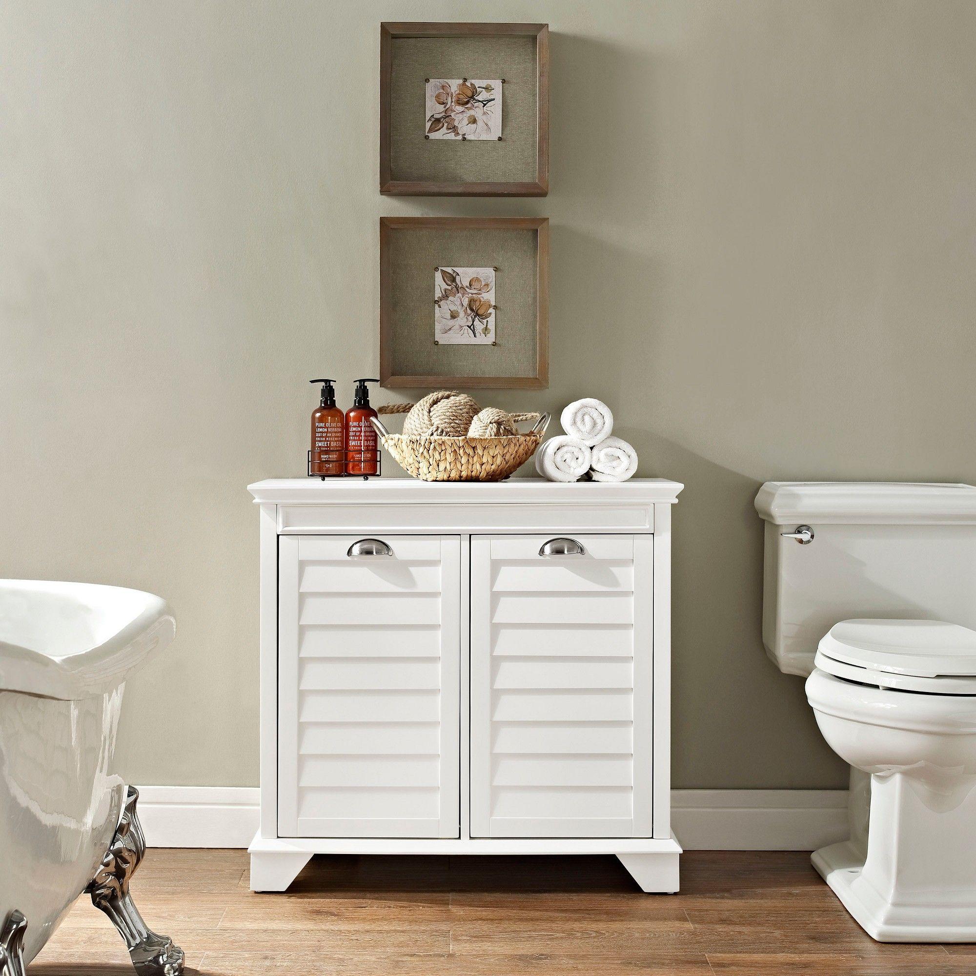 Lydia Linen Hamper In White Decorative Storage Cabinets Crosley Furniture Corner Storage