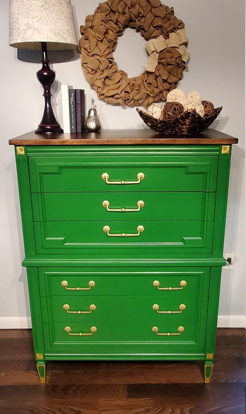 Emerald Green Bedroom Chest Dresser Etsy Emerald Green Bedrooms Bedroom Green Bedroom Chest