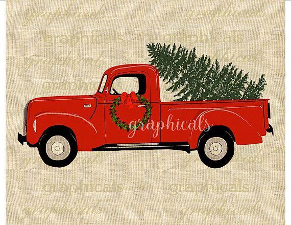 Vintage Red Truck Christmas Placemats.Christmas Red Truck Tree Wreath Printable Image Digital