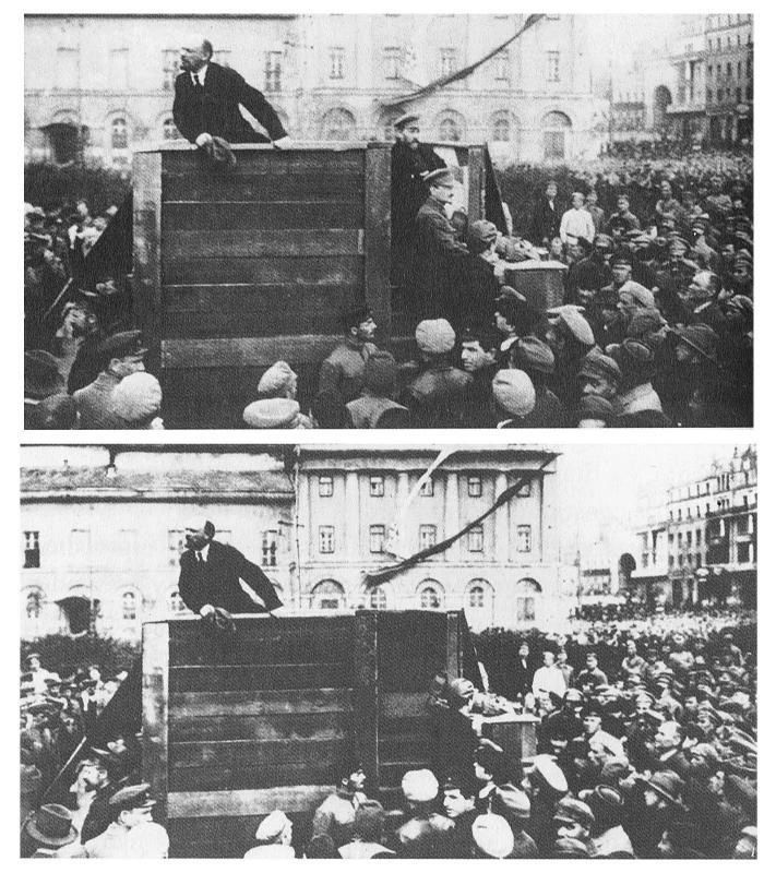 Lenin giving a famous speech to the troops in Moscow. Trotsky and Lev Kamenev have later been edited out. 1920
