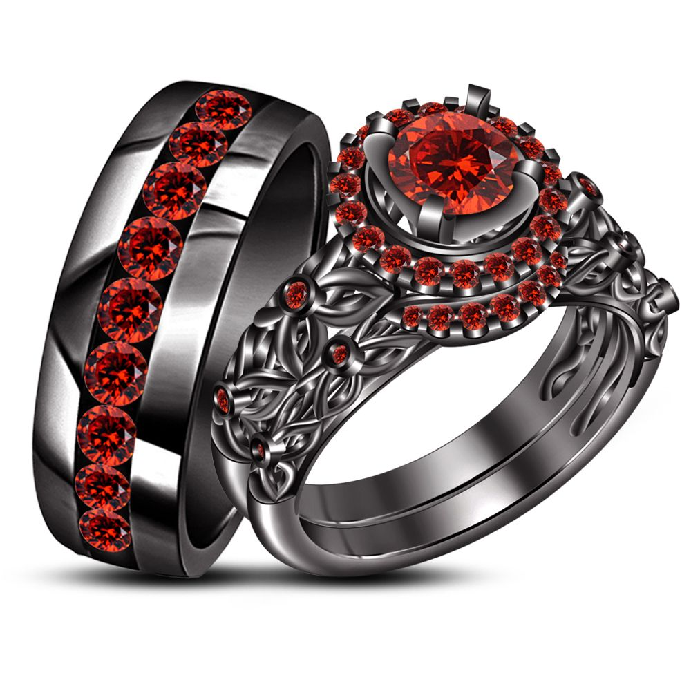 His Hers Wedding Band Engagement Ring Trio Set Red Garnet Black Gp 925 Silver Wedding Ring Trio Sets Black Gold Ring Garnet Wedding
