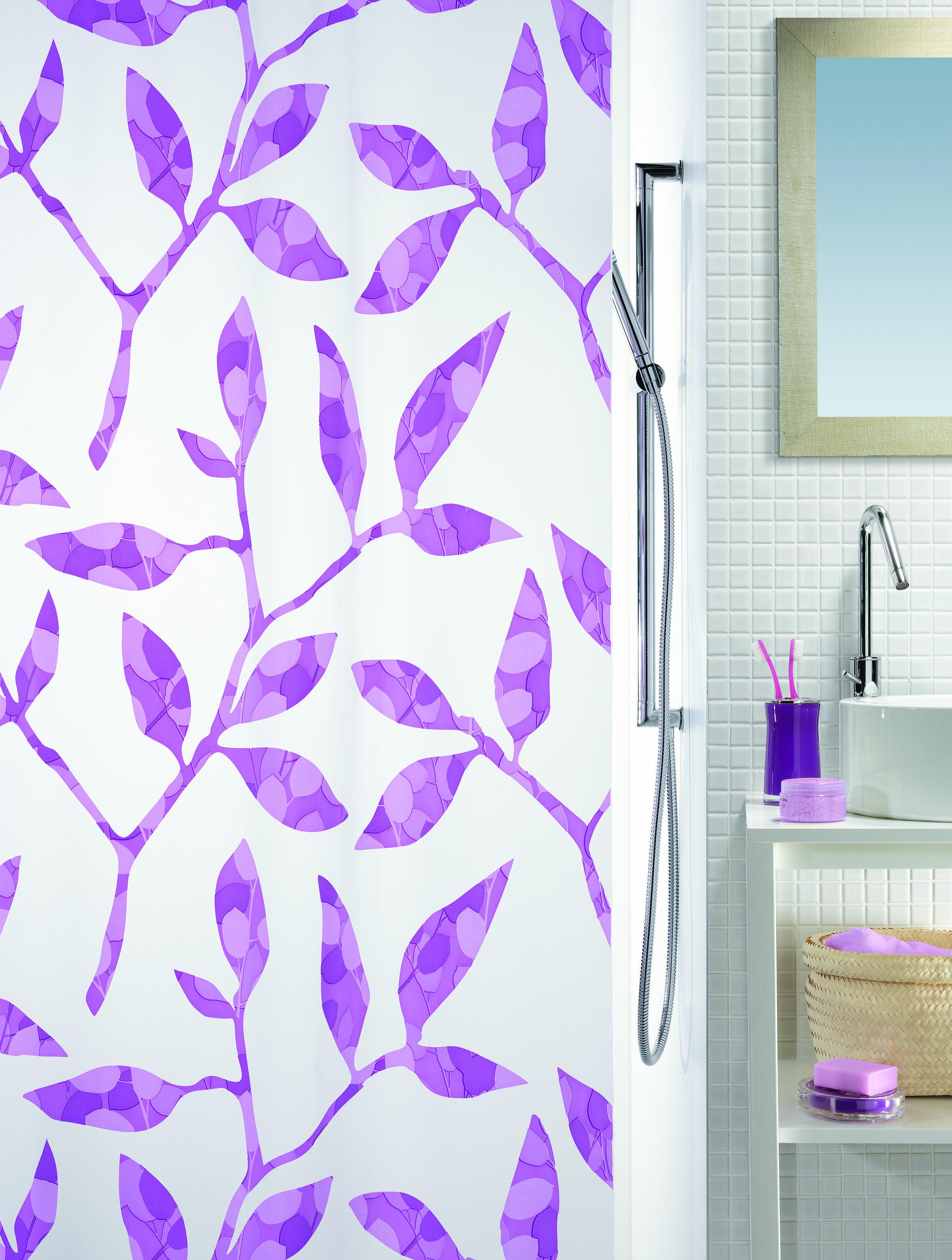 Spirella Clea Purple Shower Curtain Bathroom