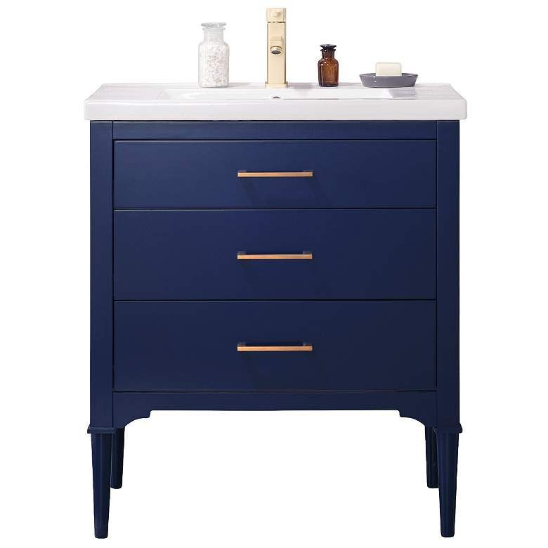Mason 30 Wide 3 Drawer Porcelain Blue Single Sink Vanity 74r90 Lamps Plus In 2020 Single Sink Vanity Vanity Sink Small Bathroom