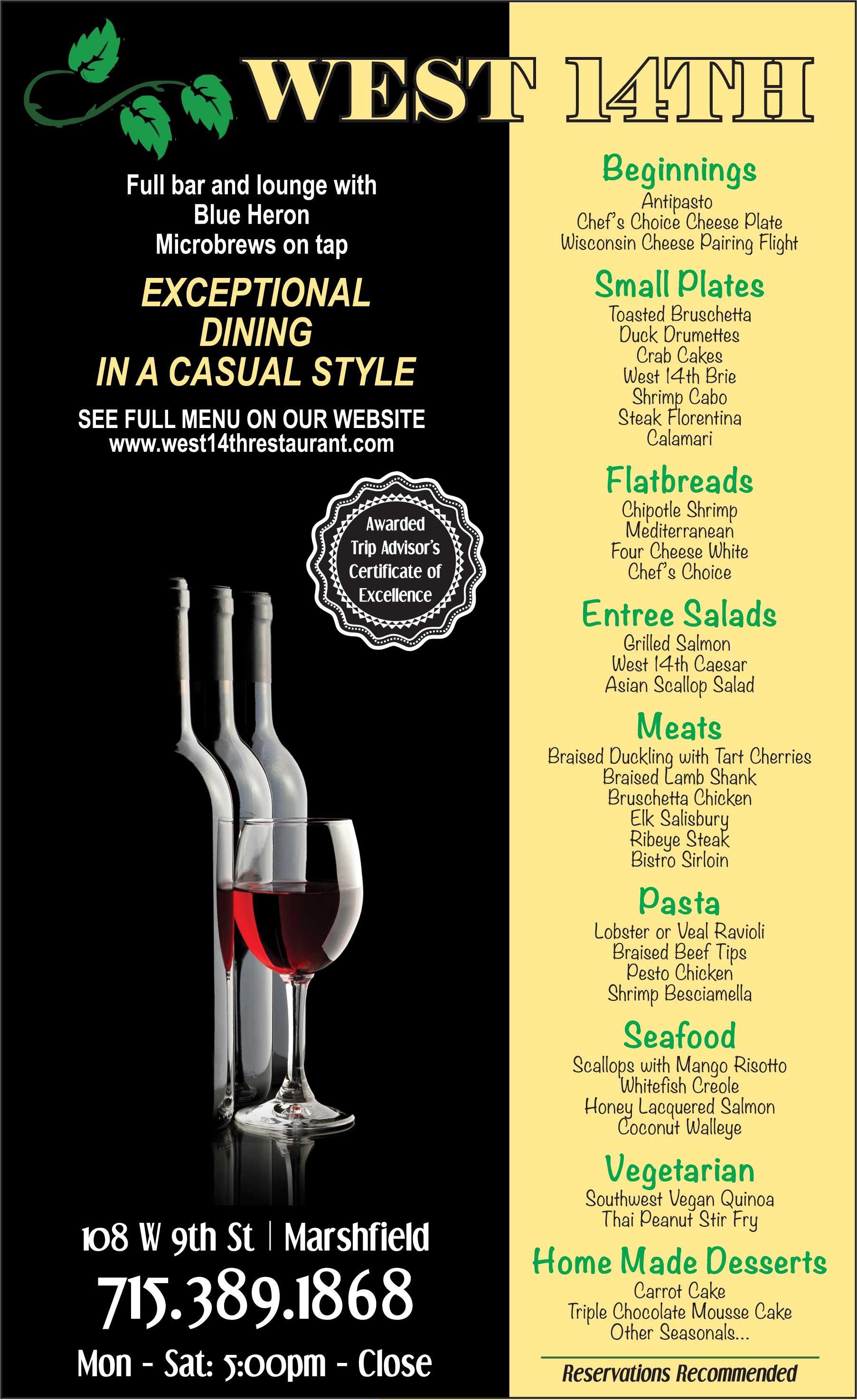 West 14th Fine Dining Menu Restaurant Marshfield Wi Menu