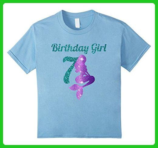 Kids 7th Birthday Girl Of Mermaid T Shirt 7 Years Old 6 Baby Blue