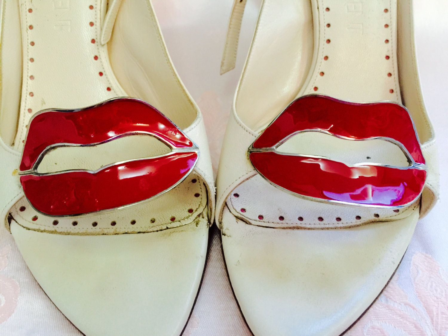 465fb89a Couture Super Rare Ysl Yves Saint Laurent High Heel Shoe red metal ...