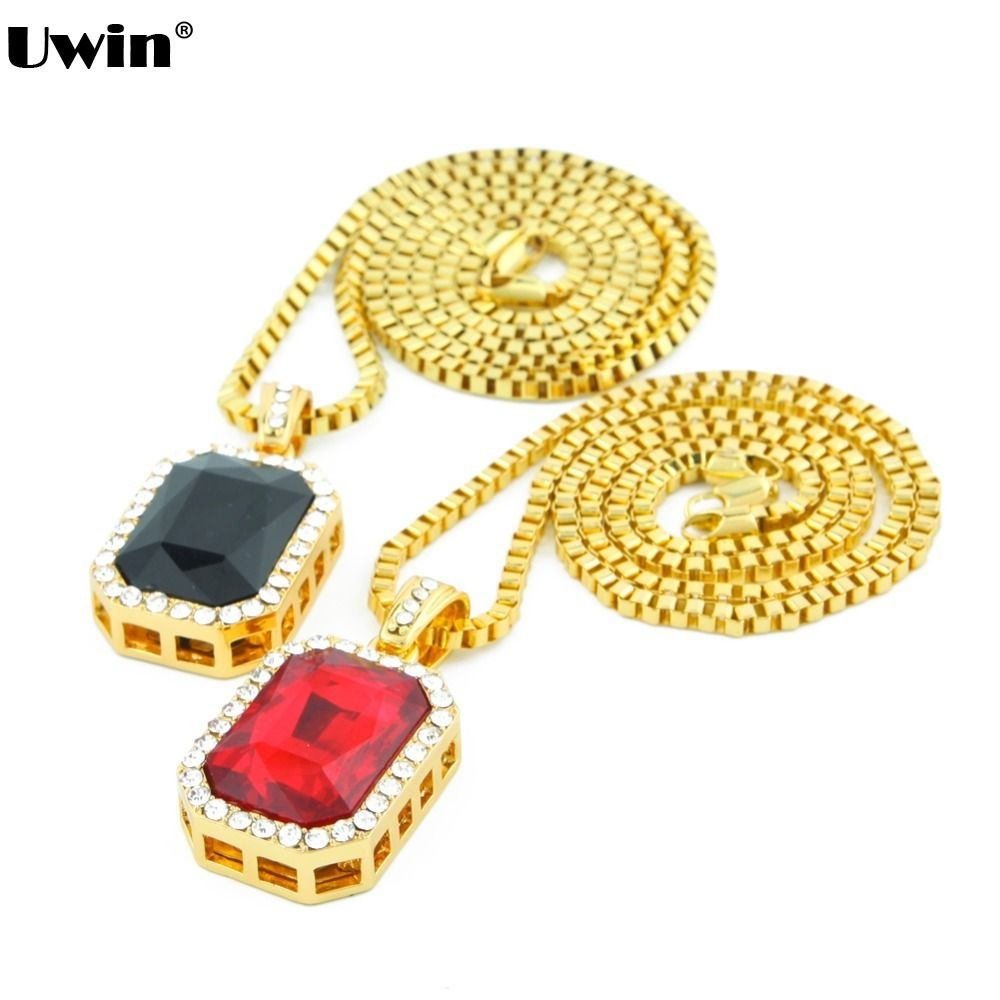 Menus hip hop octagon style red stone necklace with small square