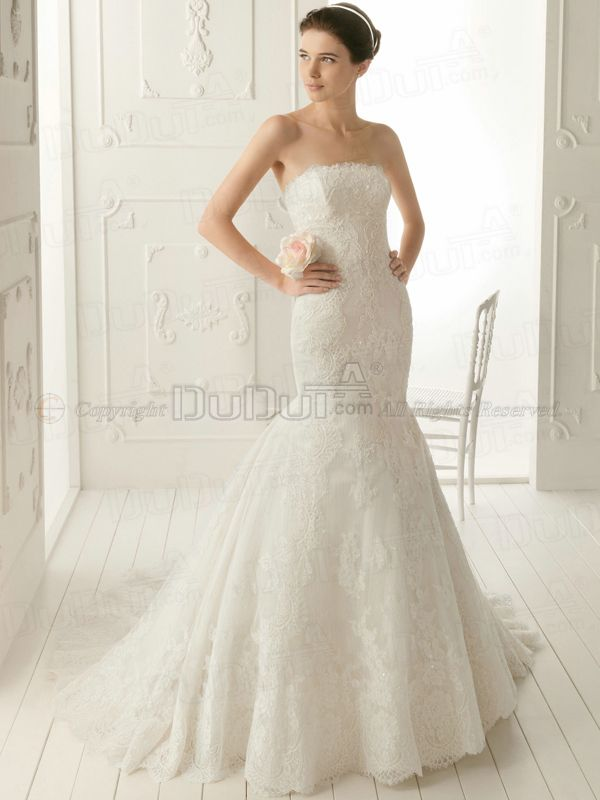 3c76de23ec7 Free shipping Mermaid Trumpet Lace Tube Top Strapless Sweep Drape Wedding  Dresses