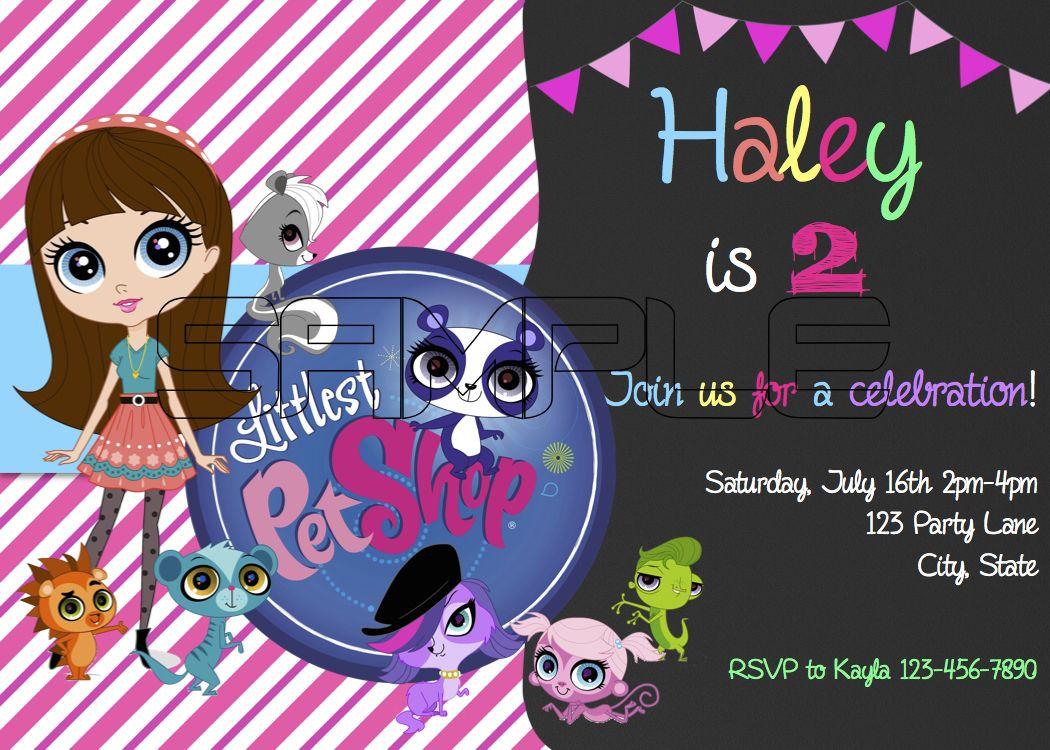 Littlest pet shop birthday invitation | laranda party ideas ...