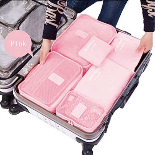 6 sets travel Pack Organizers Cubes Luggage Compression Clothes//Socks Pouches