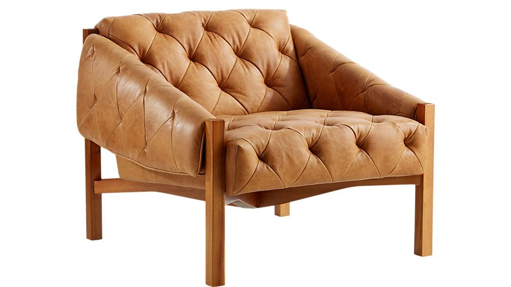 Abruzzo Brown Leather Tufted Chair Reviews Cb2 Tufted Chair Brown Leather Chairs Leather Chair