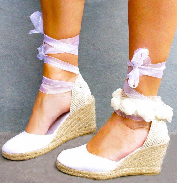 Bridal Shoes Boho: Bridal Wedge Lace Up Espadrille Boho Style Wedding By